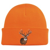 Outdoor Cap Watch Cap w/Cuff w/Deer Head, One Size, Blaze