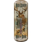 "Rivers Edge Buck Country Thermometer, 17""x5"", Indoor/Outdoor, Tin"