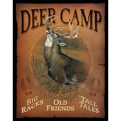 "Wild Wings Tin Signs - Deer Camp, 12.5""x16"""