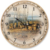 "Wild Wings Wall Clock - Birch Lined, 11""dia., Whitetail Deer"