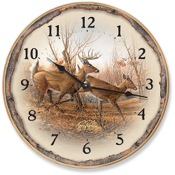 "Wild Wings Wall Clock - Autumn Run, 11""dia., Whitetail Deer"