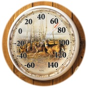 "Wild Wings Outdoor Thermometer - Birch Lined, 12""dia., Whitetail Deer"