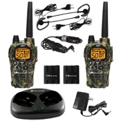 Midland LXT1000 Camo GMRS 2 Way Radios w/Ear/Mic & Charger, 5 Watt, pr., BrkUp, 50 Chl, 30 Mile