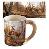 Wild Wings Sculpted Mugs - Autumn Run, 16oz., Antler Handle