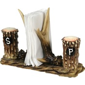 Rivers Edge Antler Salt/Pepper Shakers with Napkin Holder