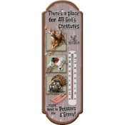 "Rivers Edge All God_s Creatures Thermometer, 17""x5"", Indoor/Outdoor, Tin"