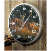 "Wild Wings October Mist Thermometer, 12"" dia., Whitetail Deer"