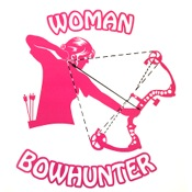 "DWD Woman Bowhunter Decal, 8""x8"", Pink/White"