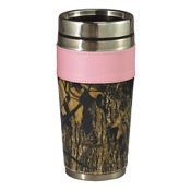 Weber Womens Camo Leather Travel Mug, BreakUp, w/Pink Trim