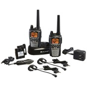 Midland GXT860VP4 2 Way Radio w/Ear/Mic/Batteries & Charger, 2/pk., Black, 42 Chl, 36 mile