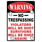 "Rivers Edge Tin Road Sign - No Trespassing, 12""x17"", Embossed"
