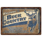 "Rivers Edge Tin Sign - Buck Country, 12""x17"", Embossed"