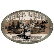 "Rivers Edge Tin Sign - Deer Camp, 12""x17"", Embossed"