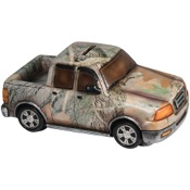 "Rivers Edge Truck Piggy Bank - Camo, 9"" length, poly resin"