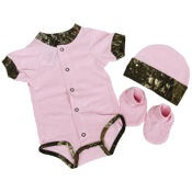 BCS Easy-On Set w/Knit Hat - Short Sleeve, 3-6 mnths, Pink/MO