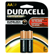 Duracell Coppertop Alkaline Battery - AA, 2/pk.