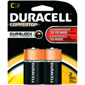 Duracell Coppertop Alkaline Battery - C, 2/pk.