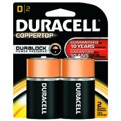 Duracell Coppertop Alkaline Battery - D, 2/pk.