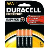 Duracell Coppertop Alkaline Battery - AAA, 4/pk.