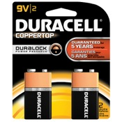 Duracell Coppertop Alkaline Battery - 9V, 2/pk.