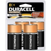 Duracell Coppertop Alkaline Battery - D, 4/pk.