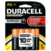 Duracell Coppertop Alkaline Battery - AA, 8/pk.