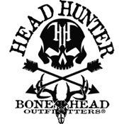 """LVE Head Hunter Skull Logo Decal, 7""""x6"""", White, Standard"""